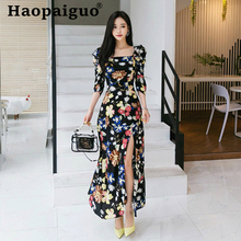 Women Three-quarter Sleeve Streetwear Elegant Dress Women Flower Long Dress Summer Slash Neck Sheath Split Print Floral Dress floral print halter sheath dress