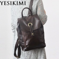 YESIKIMI Genuine Leather Women Casual Backpacks Bookbags Nature Cowhide Leather Female travel shoulder bags
