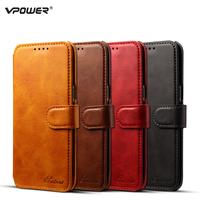 For Samsung S8 Leather Case Galaxy S8 Plus Wallet Cover Vpower Vintage Flip Stand Leather Bag
