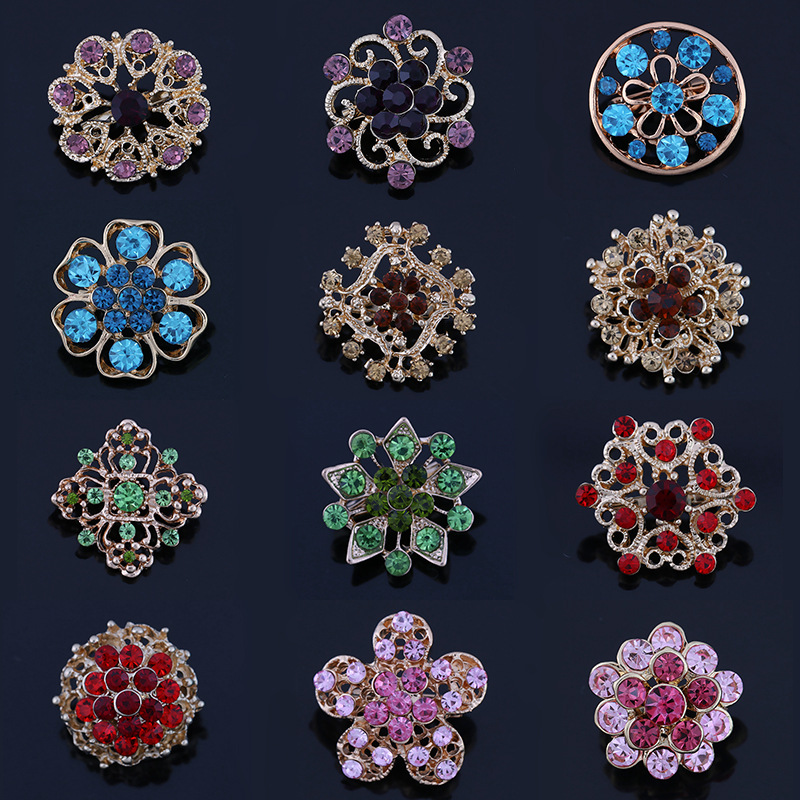 12 Mixed in a Card Multi-Color Crystal Rhinestones Flower Design Small and Cute Brooch Pins for Women stylish rhinestones and black design sandals for women