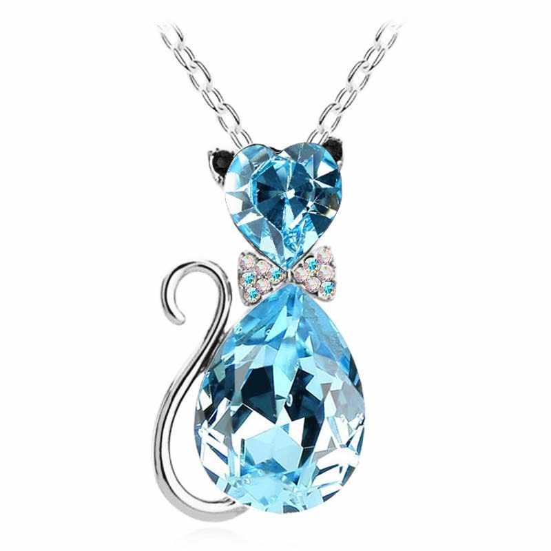 Кулон с милым котом ожерелье для женщин сердце кристалл ювелирные изделия австрийский кристалл ключицы цепи ожерелье