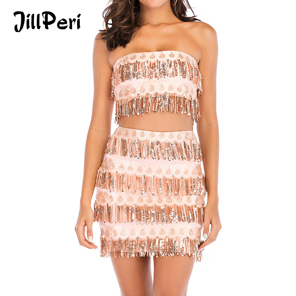 JillPeri Women Luxury Sequin Crop Top Strapless And Skirt Two Piece Set Sexy Fringe Gold Bling Shinny Daily Outfit Party 2 Piece