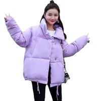 2018 High Quality Winter Women Fashion Stand Collar Loose Bread Coat Warm Short Design Parkas Jackets 8 Colors Hot Sale D394