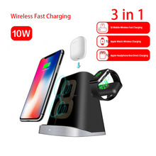 3 in 1 Wireless Charger For Apple Watch 4 2 AirPods Magnetic Fast iPhone 8 X XS MAX Samsung S10 S9 S8 7