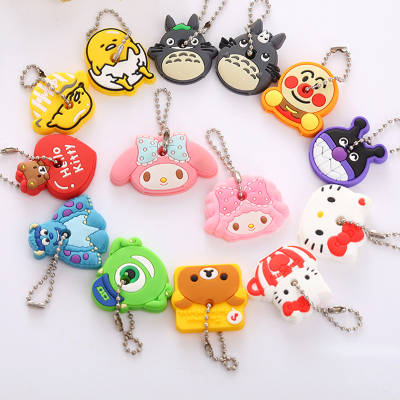 Cheap 2pcs/set Silicone Card Captor Sakura Hello Kitty Doraemon lazy egg Rilakkuma Key Cover Key Caps Lovely Keychain Keyring