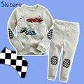 Primavera y Otoño Del Bebé Del juego de la Ropa de algodón t-shirt + pants de la historieta del coche del gato de los niños de manga larga chándal ropa fijada