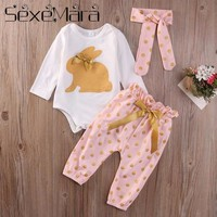 Clearance Autumn Winter Children long Sleeve Clothes Set Newborn Print Romper Climbing Clothing Pants Turban Set