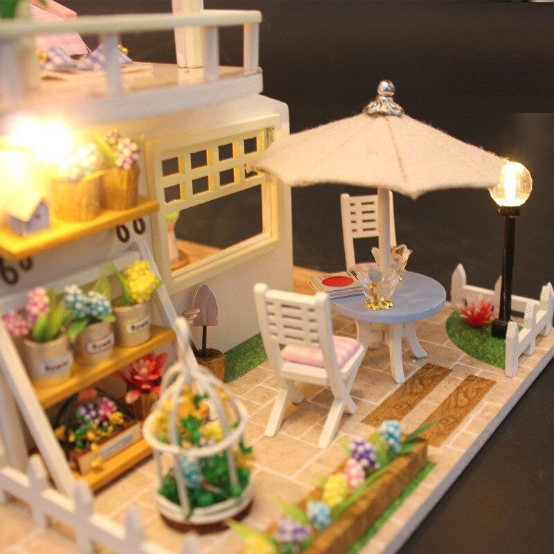 Hoomeda nueva llegada miniatura casa de muñecas de madera con - Muñecas y accesorios - foto 6