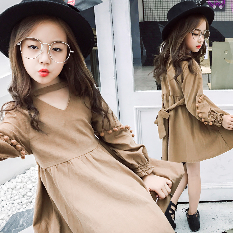 2017 British Style Teenage Girls Clothing Dress School Teenagers Kids Dresses Children Clothes Robe Vetement Enfant Fille