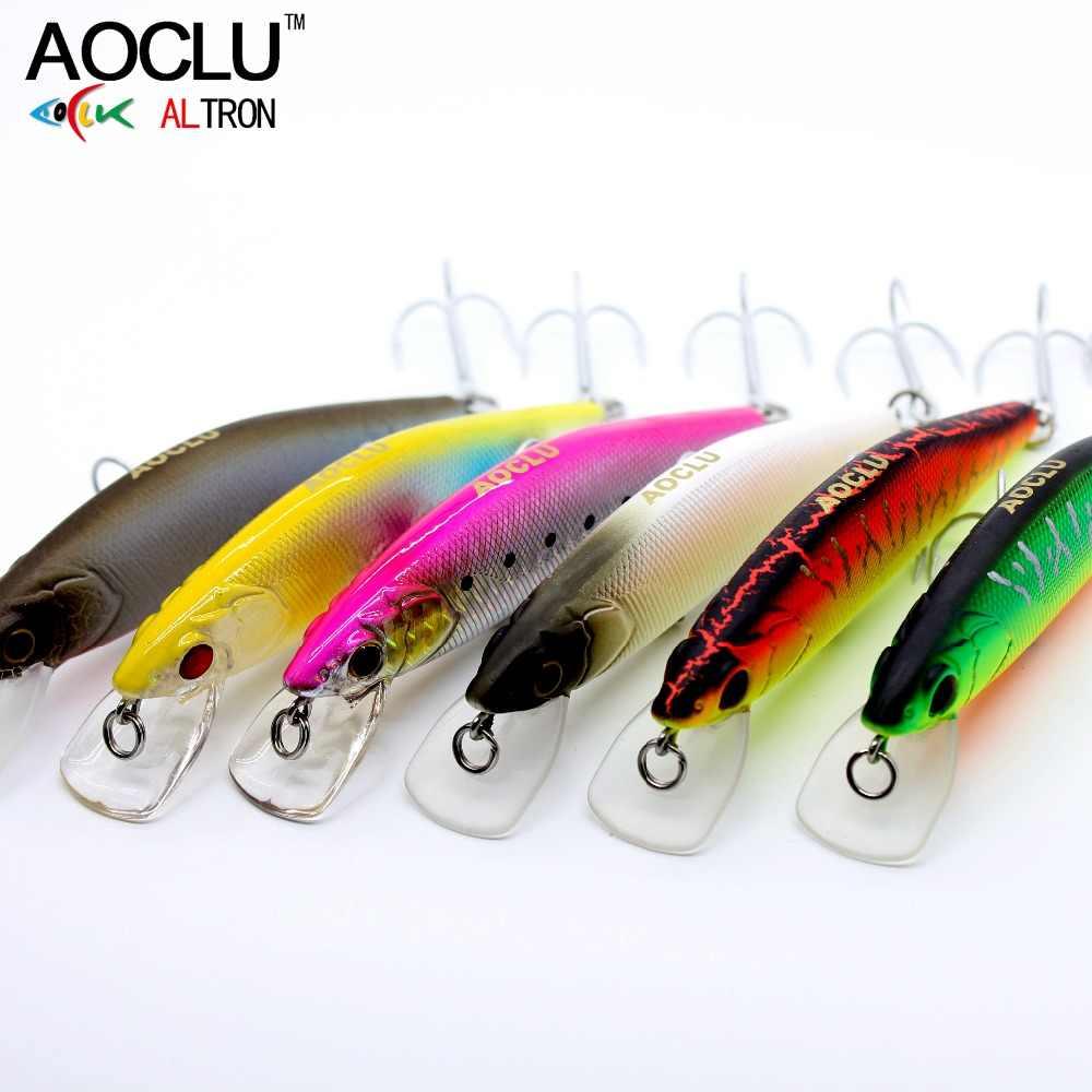 Anzuelos AOCLU wobblers jerkbait 5 colores 9,5 cm 12,3g cebo duro Crank Minnow Señuelos de Pesca lubina agua dulce y salada 4 # VMC