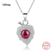 925 Sterling Silver Naszyjnik Proste Leaves Serce Wisiorek Kamień Szlachetny Naszyjnik Boutique Biżuteria Dla Kobiety