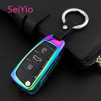 SeiYio Car key ring case bag for Audi Mental& Leather Creative style car cover for folded Audi key
