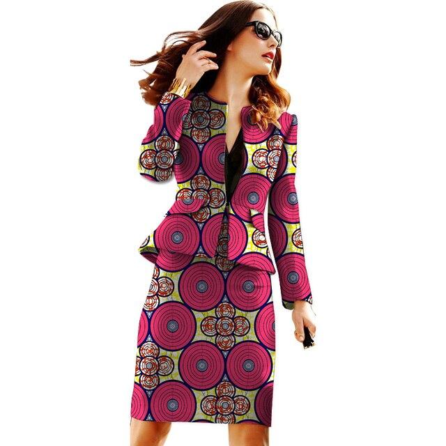 African print women skirts+blazers set fashion pattern ladies dashiki clothes custom party/wedding slim fit suit set clothing