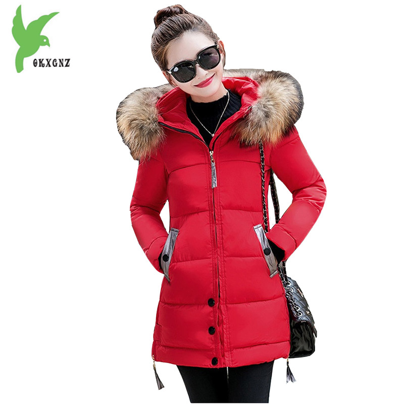 Down Cotton Jackets New Women Winter Fashion Hooded Fur Collar Medium Length Slim Thicker Plus Size Lady Casual Coat OKXGNZ A913 england style 2017 new winter lady hooded balls jackets pink red black gray and blue lady down jackets imitation fox fur hat