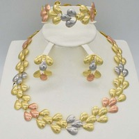 Big Nigerian Wedding African Beads Jewelry Sets Crystal Fashion Dubai Gold Color Jewelry Sets For Women Costume Design