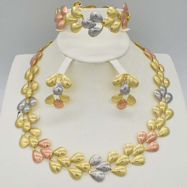 Big Nigerian Wedding African Beads Jewelry Sets Crystal Fashion Dubai Gold Color