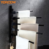 Folding Wall Mount Bathroom Black Towel Holder Rack Accessories Oil Bronze Hangers Clothes Robe Hook Towel bar Kitchen SL0001