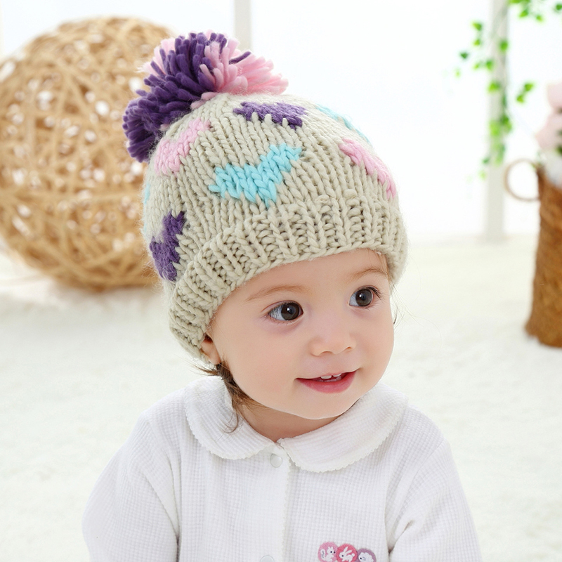 New Baby Girl Hat Print Solid Knit Kids Beanie Winter Ear ...