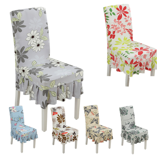 Beau Spandex Floral Pattern Anti Dirty Dining Chair Covers Banquet Weddings  Folding Stretch Ruffled Chair Cover Modern Home Decor