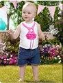 2016 летние девочки Мальчики Одежда Наборы 2 шт. комплект одежды топ с брюками