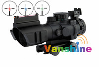 Free Shipping Tactical 4x32 RGB Laser Sight Dot Red Tri Illuminated Combo Compact Scope Fiber Optics