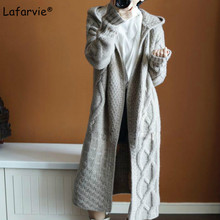 Lafarvie Thick Cashmere Blended Knitted Sweater Cardigan Women Coat Autumn Winter Hooded Collar Plaid Long Knitting Outwear