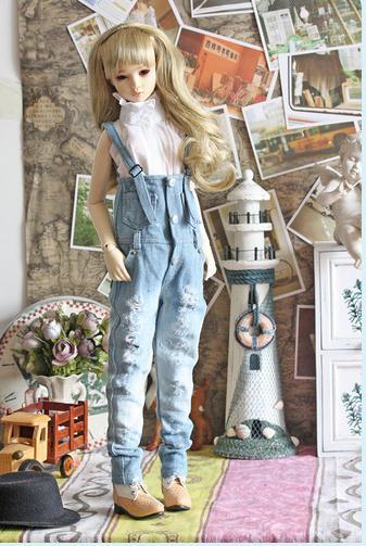 Distressed Overall Jeans Pant  Bib for BJD Doll 1/4 MSD,1/3 SD10,SD13,SD16 LUTS.AS.DZ.Doll Clothes CWB32