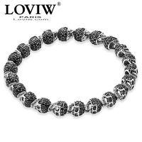 Black Zirconia Paved Skulls Bead Bracelet Elastic 925 Sterling Silver Punk thomas sabor Jewelry for Men women Halloween party
