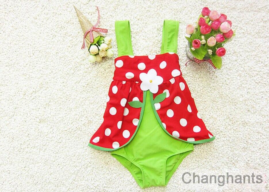 בייבי בגדי בנות אחת חתיכת ירוק ואדום עם נקודות דפוס 3-8years ילדים בגדי ילדים ללבוש בגדי ים קיץ לשחות
