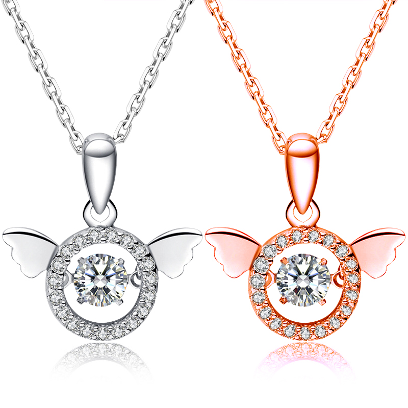 New Guardian Angel Beating Heart Austrian Crystal Necklace Zinc Alloy Collier Wholesale Fashion Jewelry