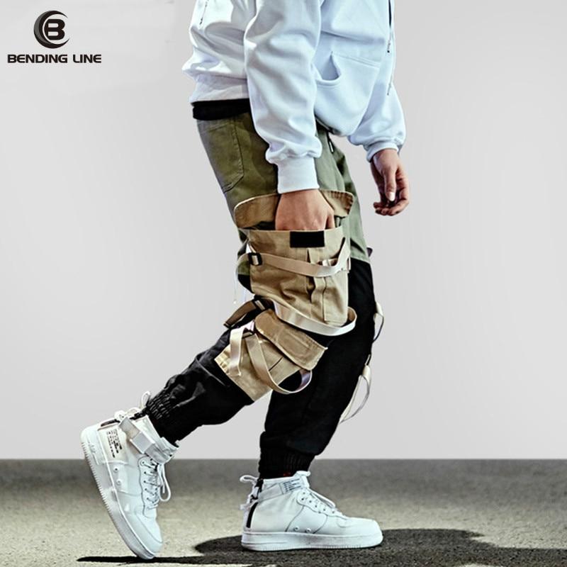 2018 Hip Hop Cargo Pant Streetwear Men Baggy Harem Pant Patchwork Multi Pocket Trousers Casual Swag Ribbon Harajuku Tatical Pant