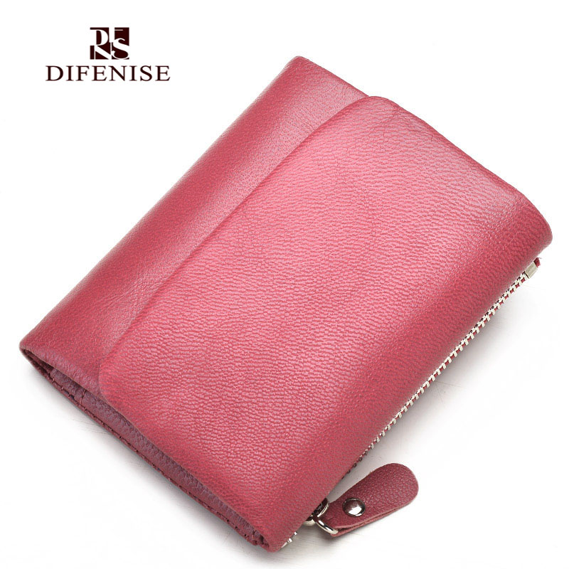 Difenise Solid Vintage Women Sheepskin Wallet Fashion Small Female Purse Floral Carteras Mujer Femininas short wallet purse