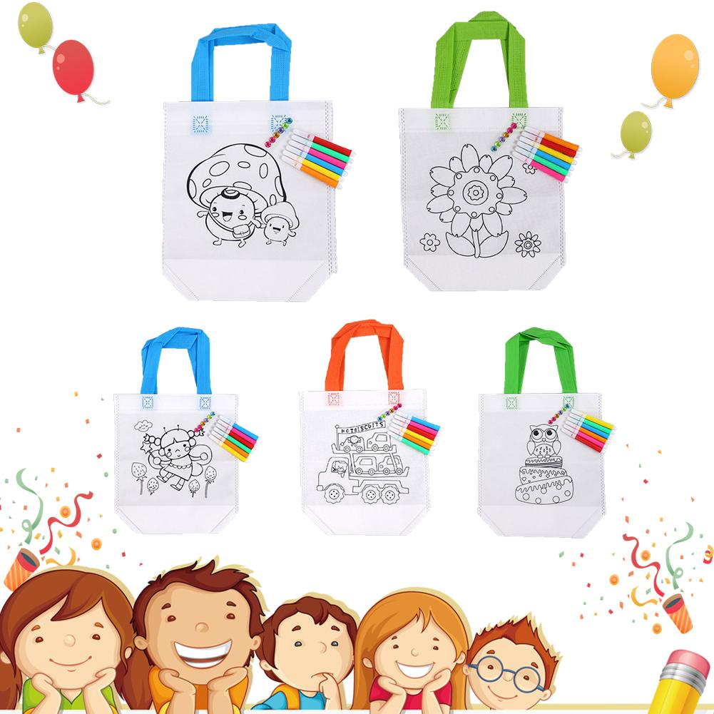 10PCS / Set DIY Children Hand Painting Handheld Canvas Bag Handmade Graffiti White Graffiti Material With Different Patterns
