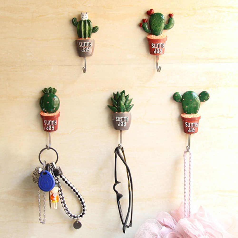 7 Estilo Gancho Da Parede Adesivo Cactus planta de Vaso de Flor Artificial Decoração Da Casa De Armazenamento Organizador Chave de Rack de Banho Cozinha Cabide Toalha