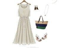 free shipping women crewneck sleeveless plus size dress maxi long dot print chiffon summer dresses