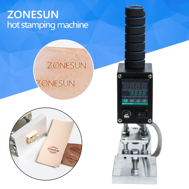 ZONESUN Hot Foil Stamping Machine Marking Press Embossing Machine Hand Operate Branding Machine Leather Printer Creasing Machine factory wholesale pricemicro percussion marking machine metal engraver equipment hand held type easy move and operate