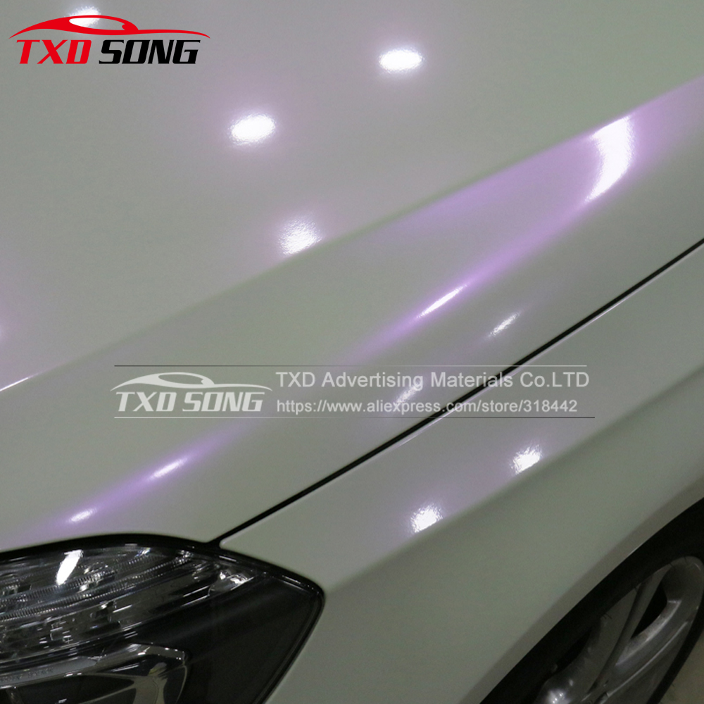 Free Shipping Premium Glossy Chameleon pearl white vinyl sticker with Bubble Free Air Release DIY Wrap
