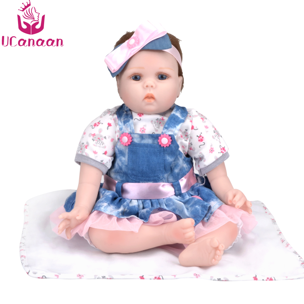 UCanaan Soft Reborn Dolls Babies Toys for Girls Handmade Cloth Body Silicone Reborn Baby Dolls Toys Best Gifts for Children 18 inch dolls handmade bjd doll reborn babies toys for children 45cm jointed plastic toy dolls for girls birthday gifts juguetes
