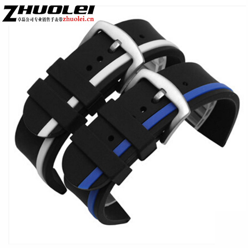 Black Watchbands Soft Silicone Rubber Strap Silver Buckle Wrist Women Men Military Sweatband Sport Fashion 20mm 22mm 24mm 20mm watch band strap watchbands for men s women sport diving silicone rubber black blue silver buckle relojes hombre