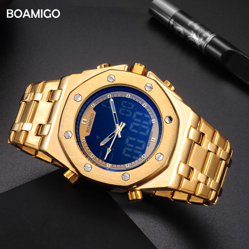 BOAMIGO Brand Men Sports Watches Fashion Digital Quartz Watches Gold Stainless Steel Wristwatches Waterproof Clock Reloj