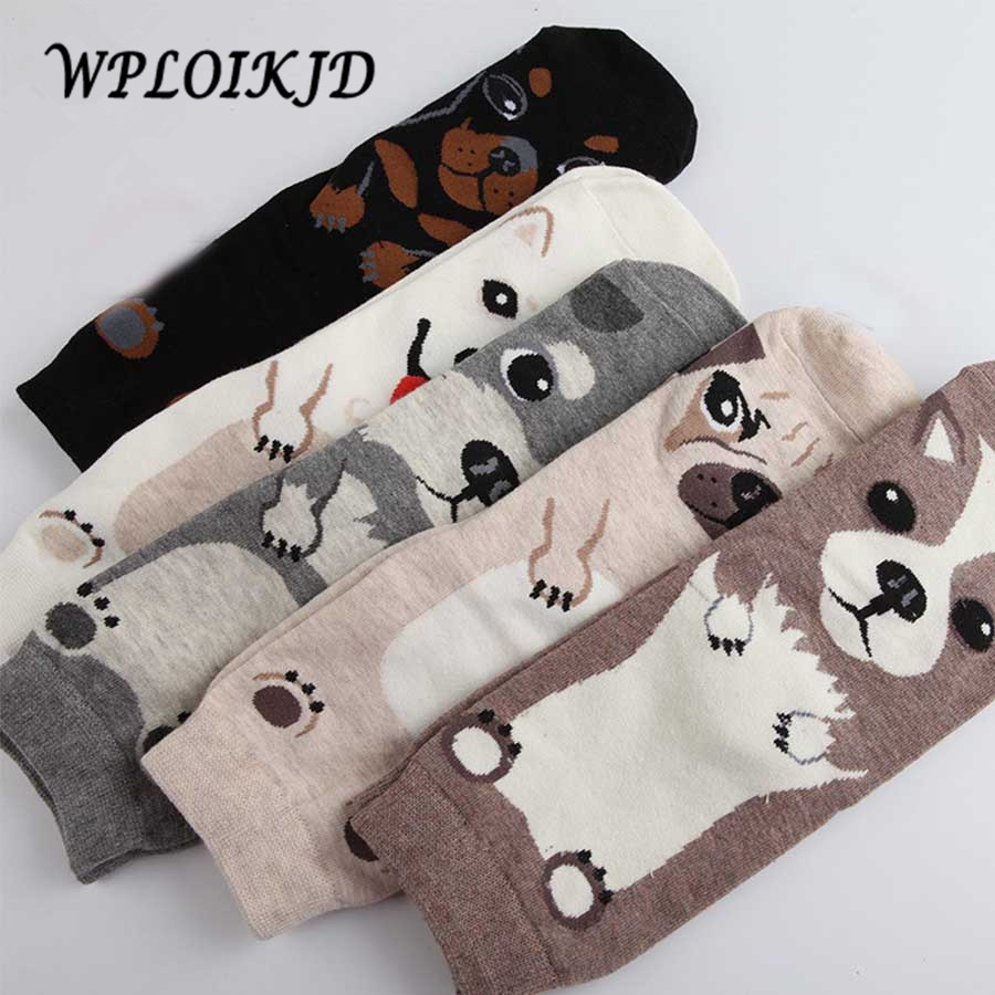 [WPLOIKJD]Korean Calcetines Cotton Printing Tube Socks Harajuku Cute Dog Pug Funny Socks Women Cartoon Sox Floor Unisex Socks