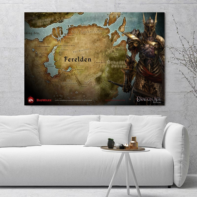 US $5.31 10% OFF|Dragon Age Origins Maps Art Silk Fabric Poster Prints Home  Wall Decor Painting-in Painting & Calligraphy from Home & Garden on ...