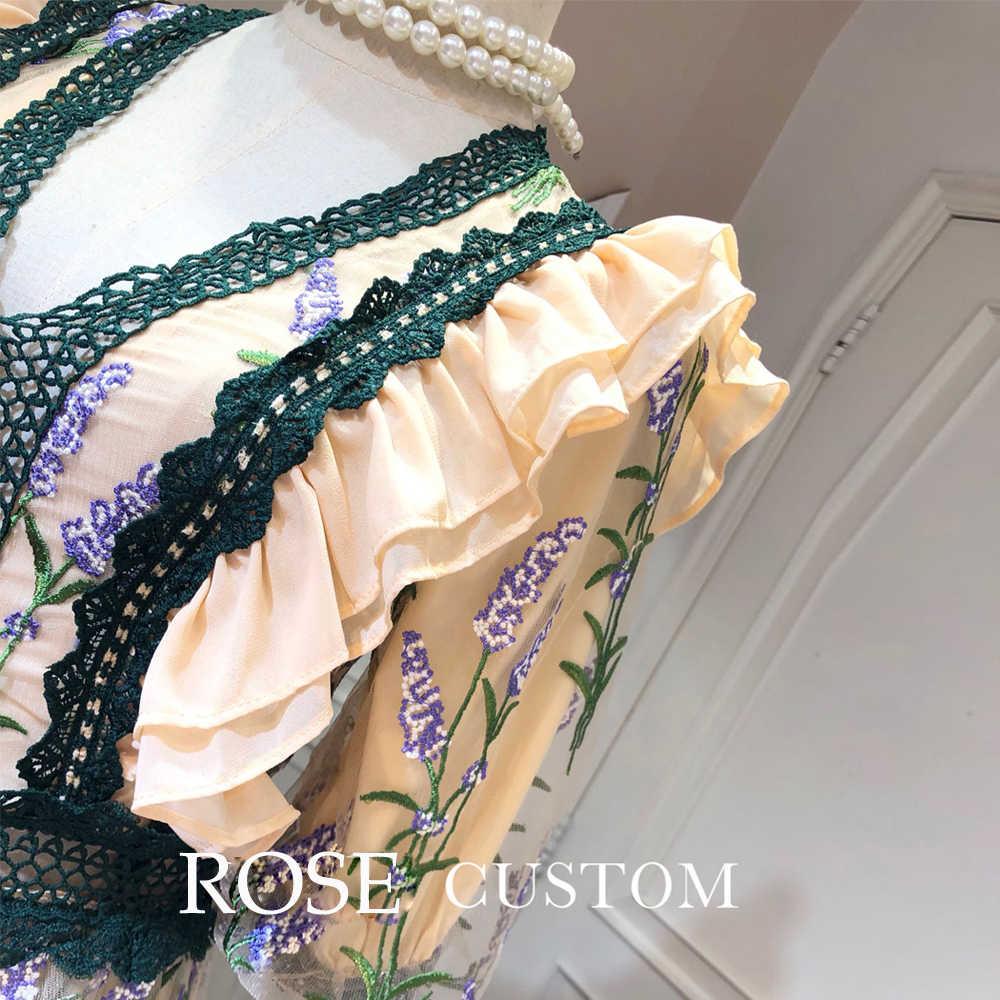 赤 RoosaRosee デザイナー滑走路女性のセクシーな V ネックエレガントな花の刺繍の豪華パーティードレスレースミディメッシュ Vestidos ローブファム