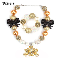 Children Party Necklace With Bracelet Fashion Golden Minnie Mouse Pendant Bow Big Ball Necklaces Valentine S