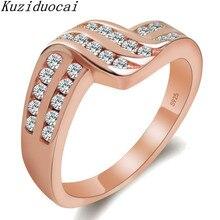 Kuziduocai 2018 New Fashion Fine Jewelry Stainless Steel Zircon Geometry Intertwined Wedding Rings For Women Las