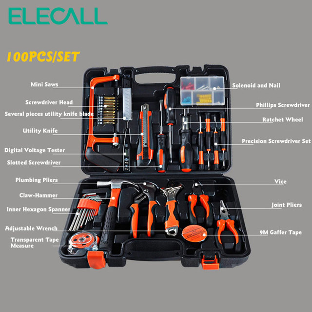 100 PCS ET-DZ100 Professional Household-hardware Combination Tool Box Tools Kit Packed Square 1