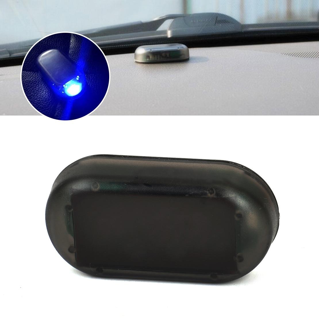 DWCX автомобиль синий LED солнечной энергии поддельные пустышки имитация сигнализации оповещения безопасности противоугонная мигающий свет для VW Ауди БМВ Пежо Киа