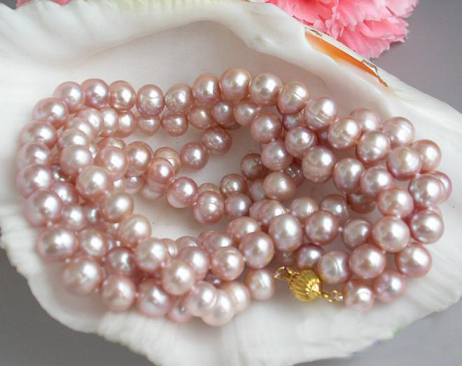 New Arriver Real Pearl Jewellery,50inches Long Pearl Necklace,9-10mm Round Lavender Color Freshwater Pearl Necklace. недорого