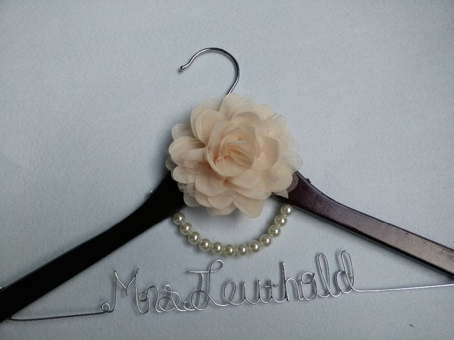Wedding Hanger Personalized Dress Custom Bridal Bride Wire Name