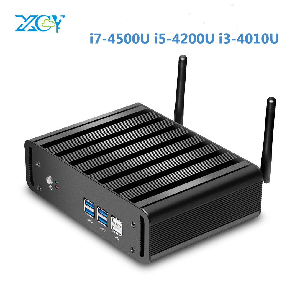 XCY Fanless Industrial Mini PC Win10 Core i7 4500U 1*Intel Gigabit Lans 6*USB Micro Computer Linux 3G Wifi 1*HDMI 1*RJ45 Router